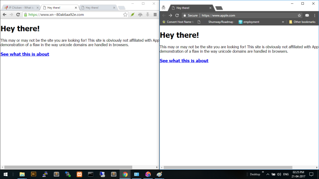 Epic Privacy Browser is Safe on the left.  Chrome on the right is vulnerable.