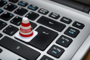 white-caution-cone-on-keyboard-211151